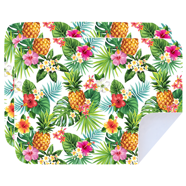 Microfibre Printed Tea Towel - Pineapple Flower Hibiscus - Pack of 2