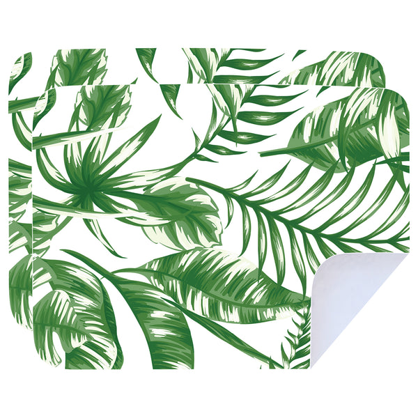 Microfibre Printed Tea Towels - Thin Green Leaves - Pack Of 2