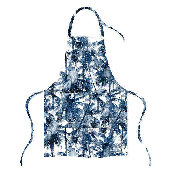 Printed Apron - Blue Palm