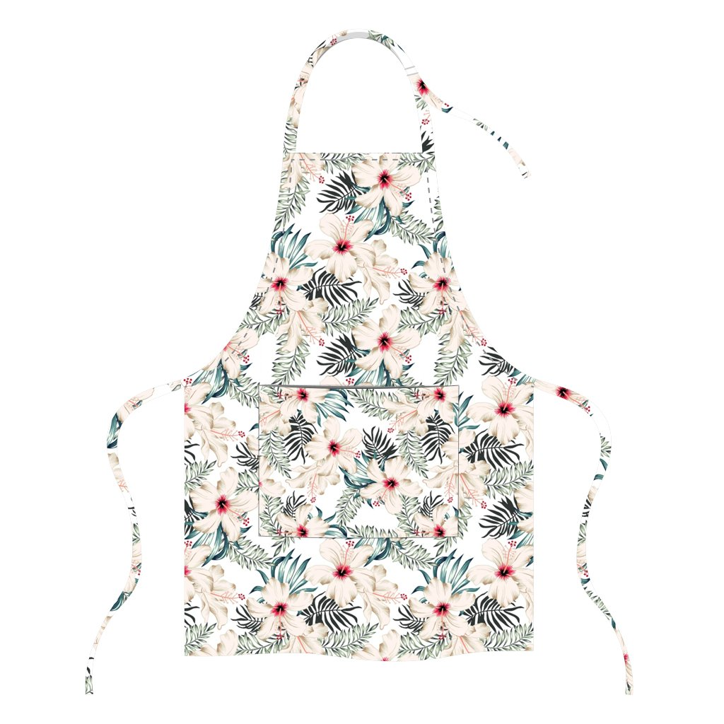 Printed Apron - White Hibiscus Flowers