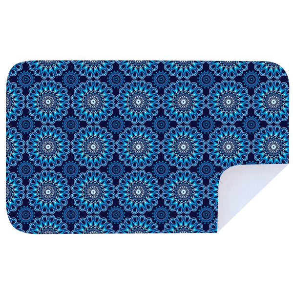 Microfibre XL Printed Towel - Shweshwe Blue Orange Flowers / Coral