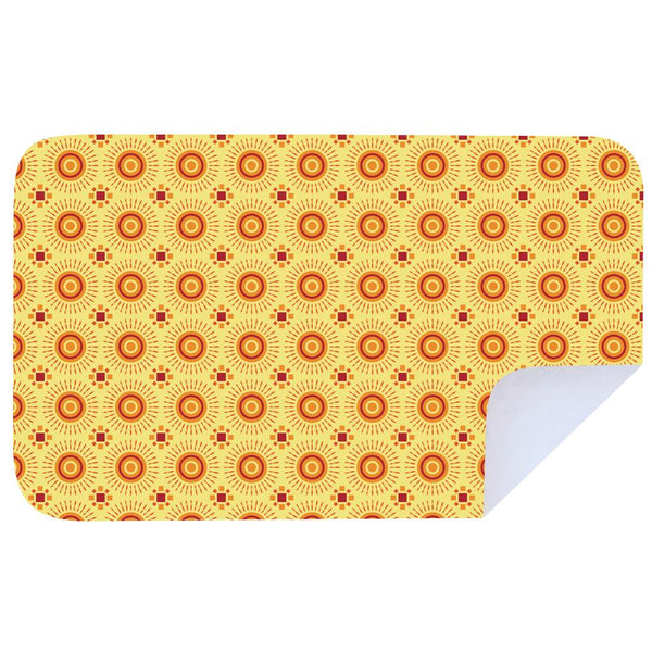 Microfibre XL Printed Towel - Shweshwe Yellow Orange Stars / Cherry Pink