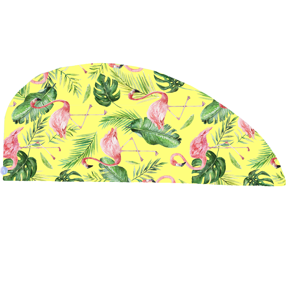 Microfibre Head Towel - Yellow Flamingo