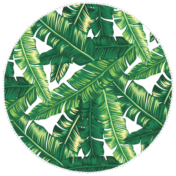 Microfibre Round Printed Towel - Green Leaves