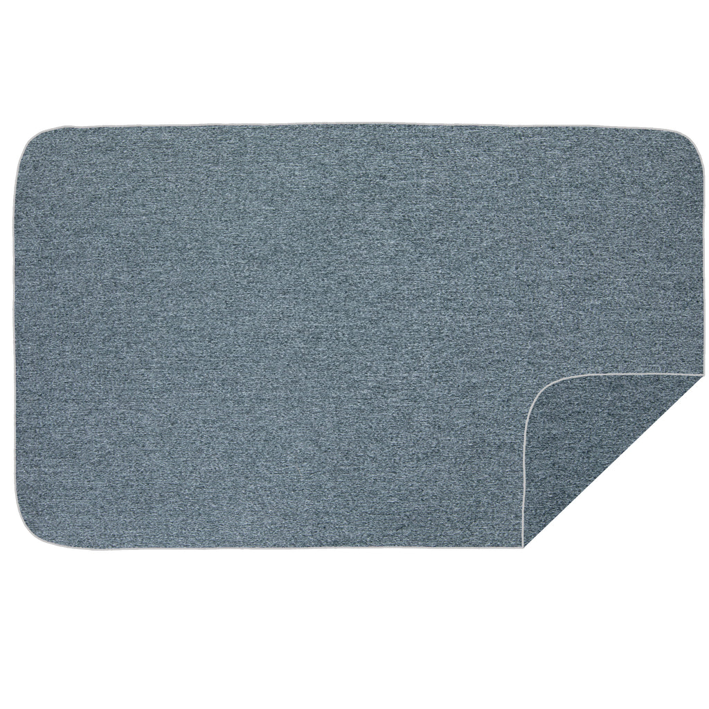 Microfibre L Beach Towel - Dark Grey Melange / White