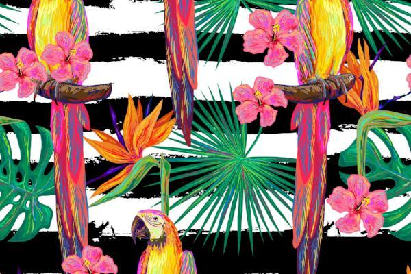 Microfibre XL Printed Towel - Parrot / Black Stripes - pinks