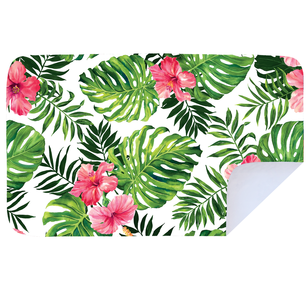 Microfibre XL Printed Towel - Pink Hibiscus Leaves