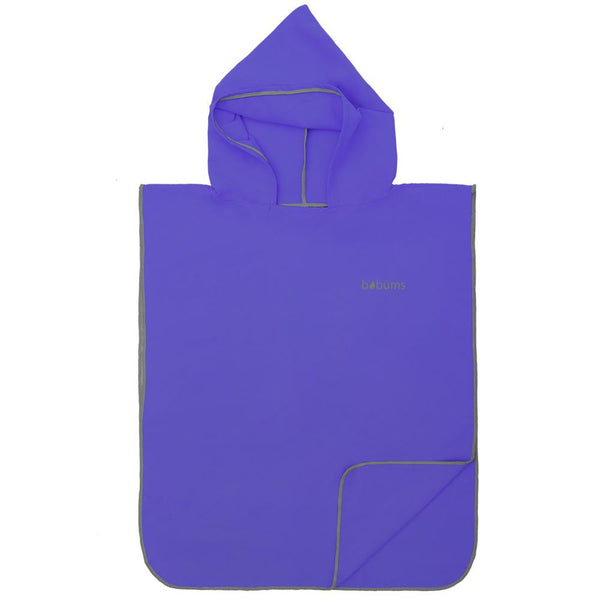 Microfibre Kids Afterswim Hoodie - Indigo Purple / Grey