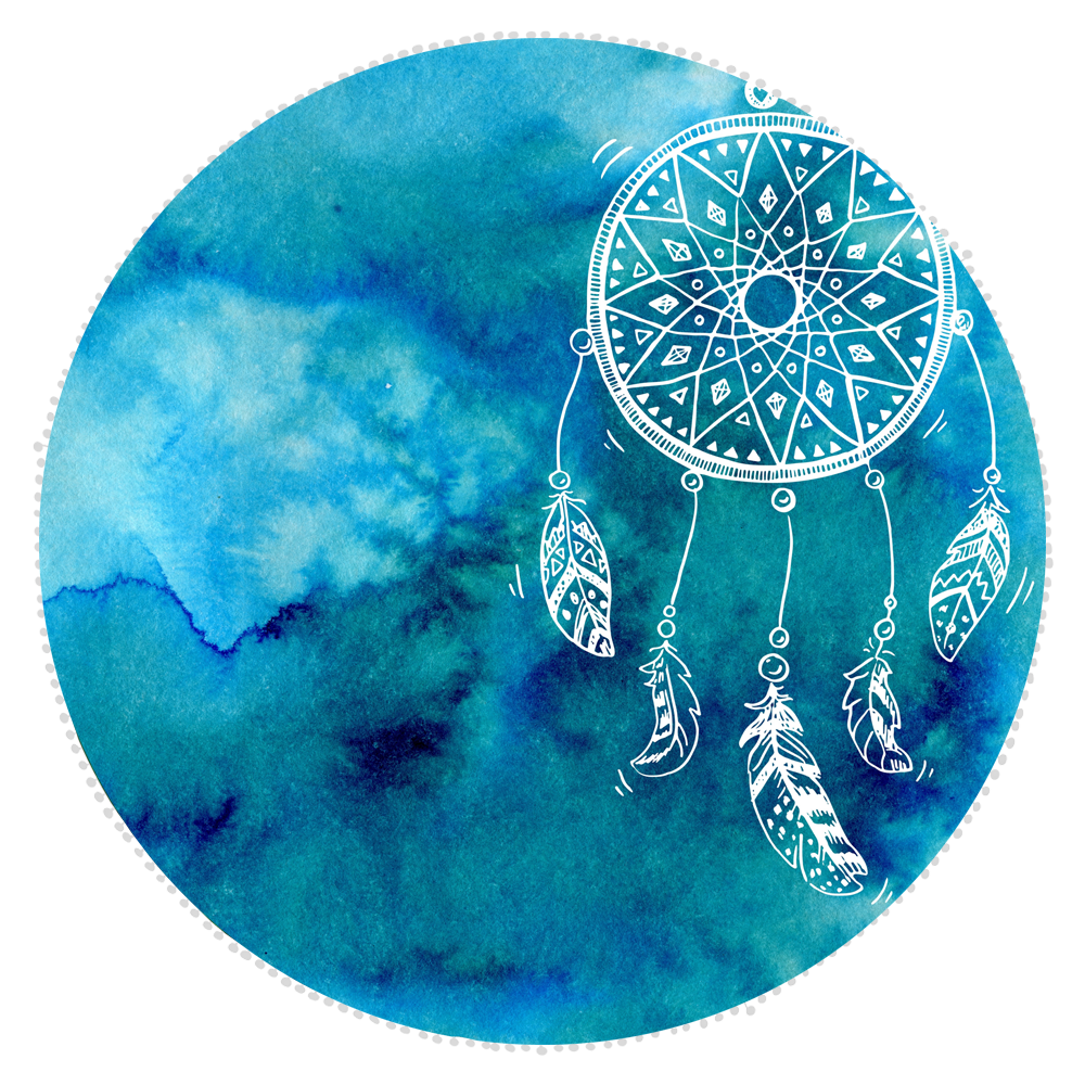 Microfibre Round Printed Towel - Dream Catcher