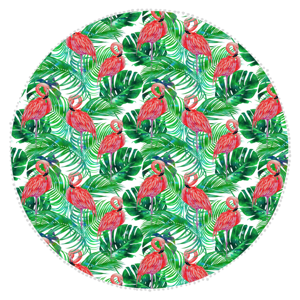 Microfibre Round Printed Towel - Green Leaf Flamingo