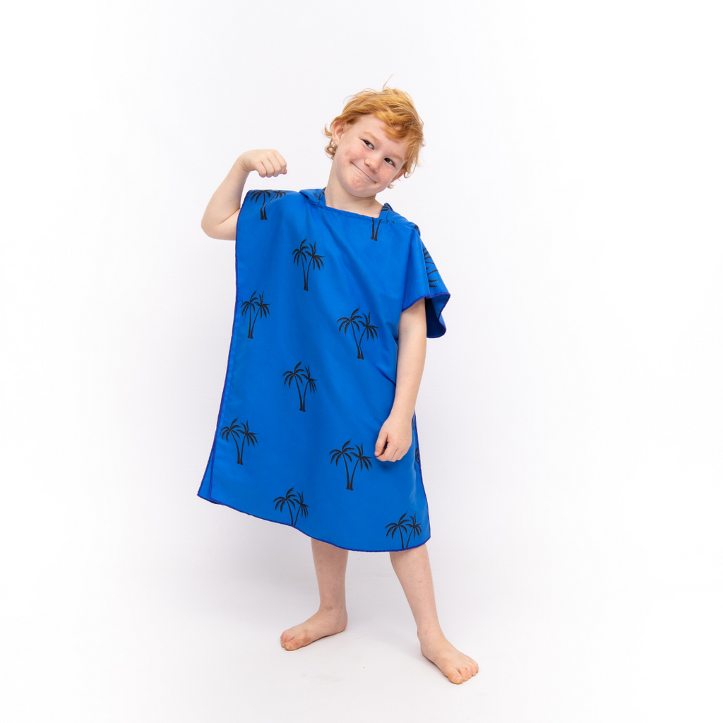 Microfibre Printed Kids Afterswim Hoodie - Royal Blue Palm