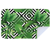 Microfibre XL Printed Towel - Green Leaves / Black Pattern
