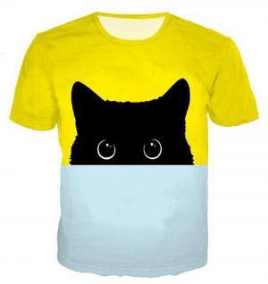 CORIRESHA Color Block Cat T-Shirt