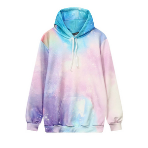 CORIRESHA Women's Colorful Galaxy 3D Printed Hoodie Size L