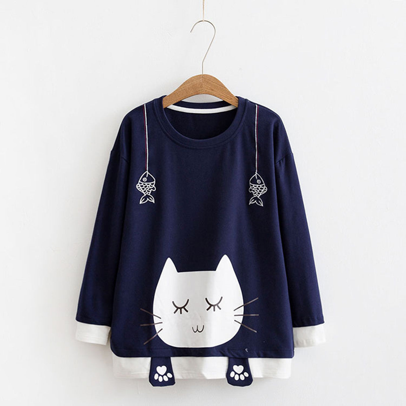 CORIRESHA Cat Print Sweatshirt
