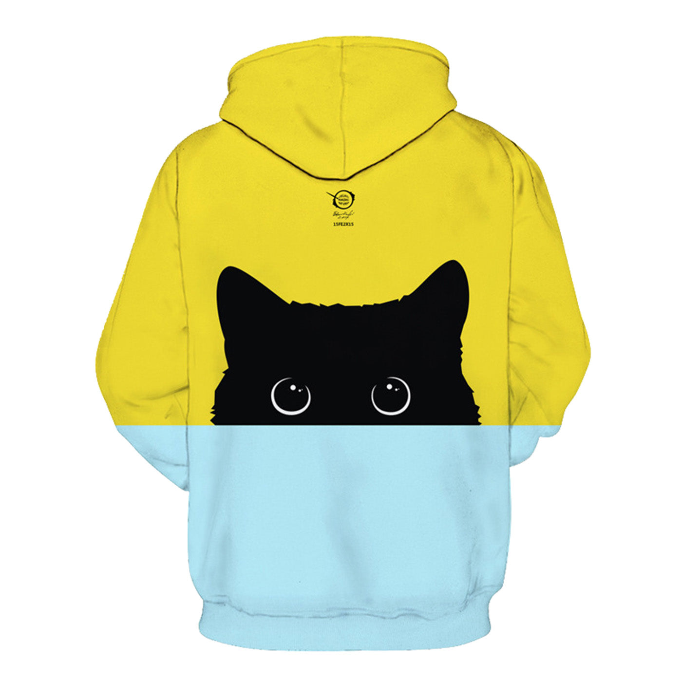 CORIRESHA Cute Cat Print Color Block Hoodie