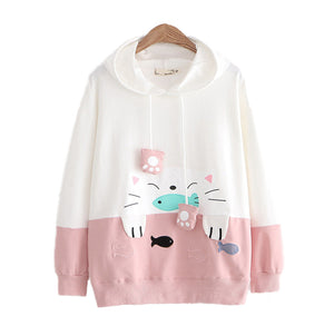 CORIRESHA Color Block Cute Cat Print Hoodie