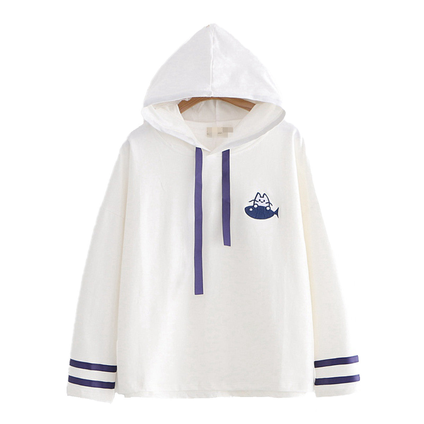 CORIRESHA Cute Cat and Fish Embroidery Hoodie