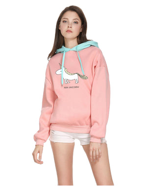 CORIRESHA Cute Unicorn Printed Hoodie