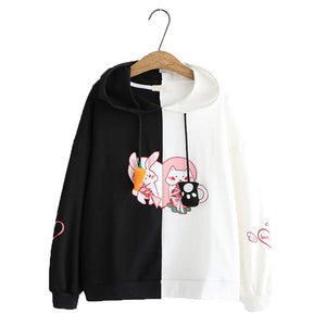CORIRESHA Cat Bunny Patchwork Hoodies