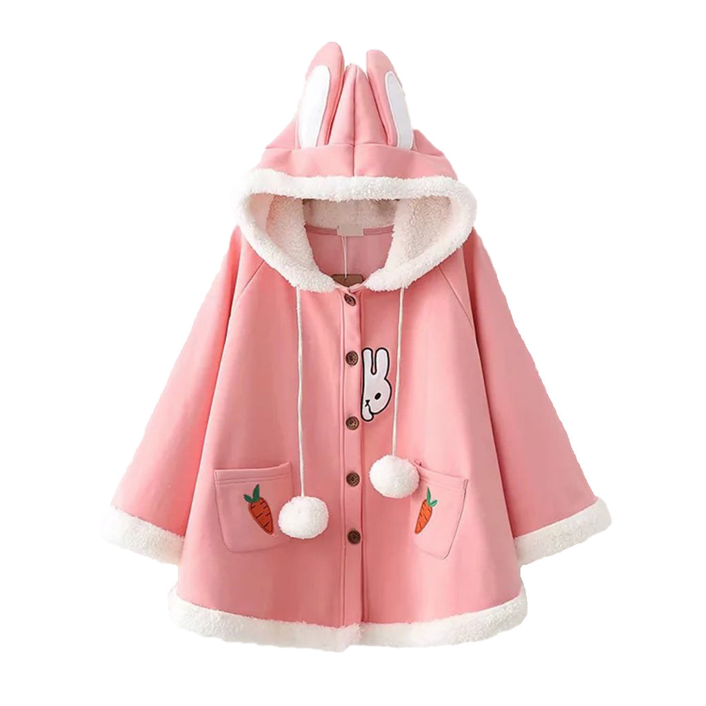 CORIRESHA Rabbit Winter Hooded Cape