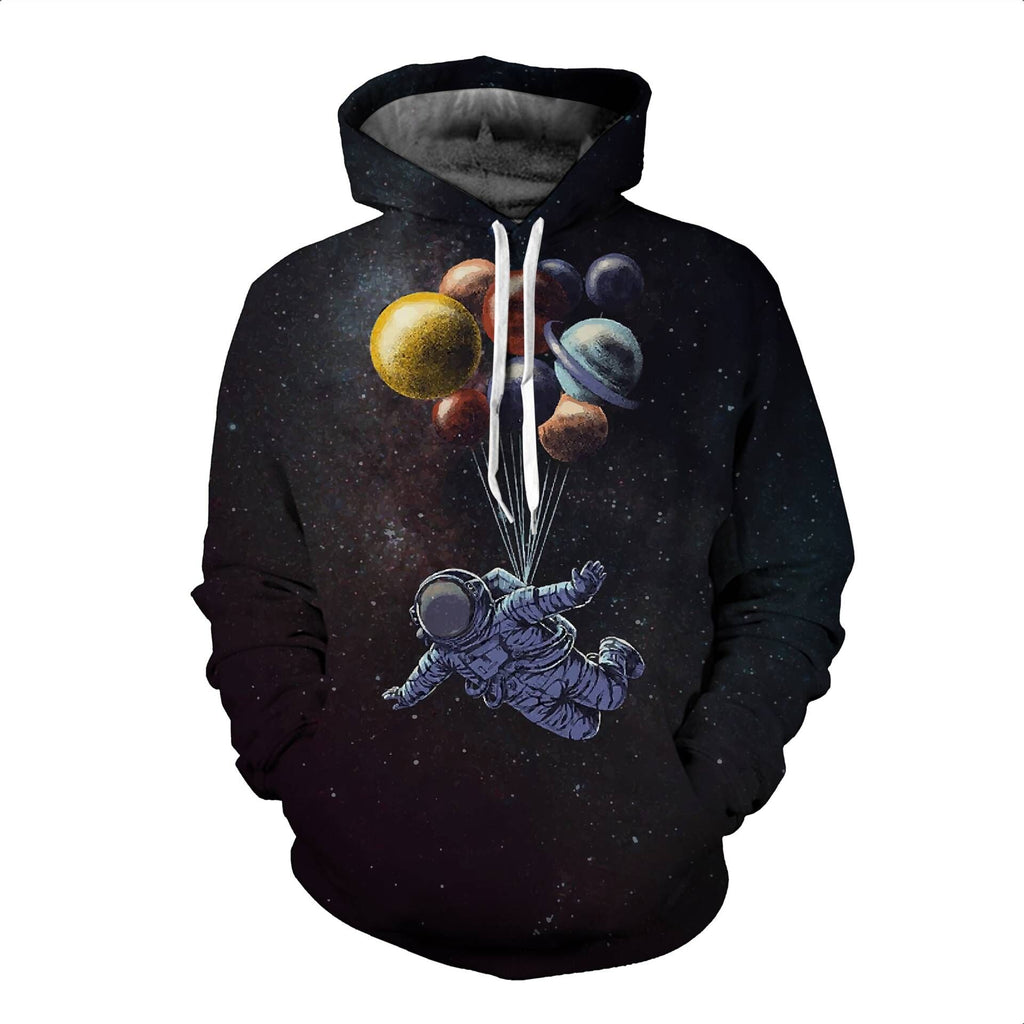 Fashion Black Flying Planet Astronaut Drawstring Hooded Sweatshirt