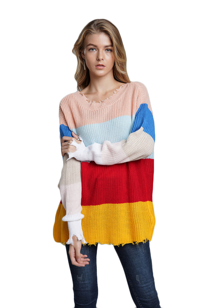 CORIRESHA Color Block Rainbow Stripe Sweater