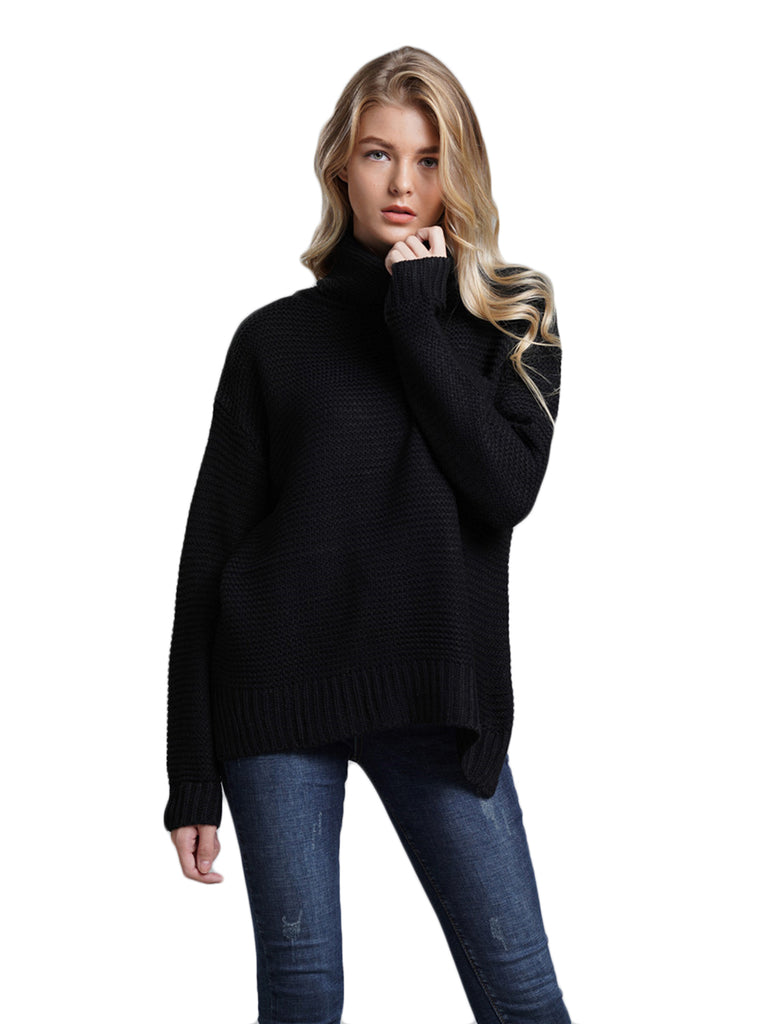 CORIRESHA Loose Solid Color Turtleneck Knit Sweater