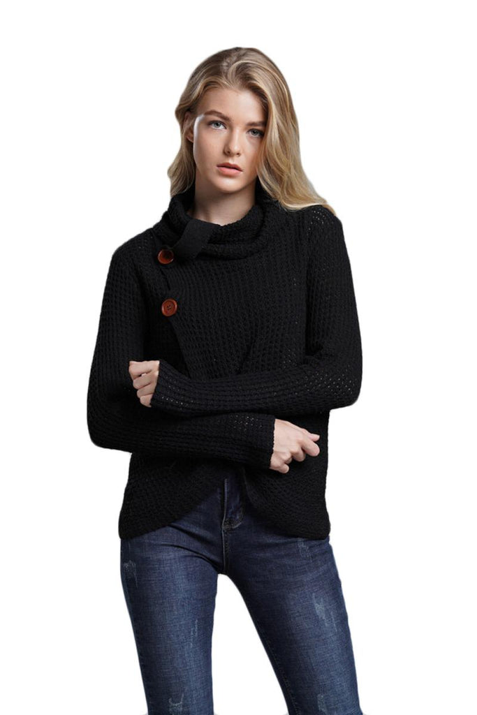 CORIRESHA Cowlneck Knit Cardigan Sweater