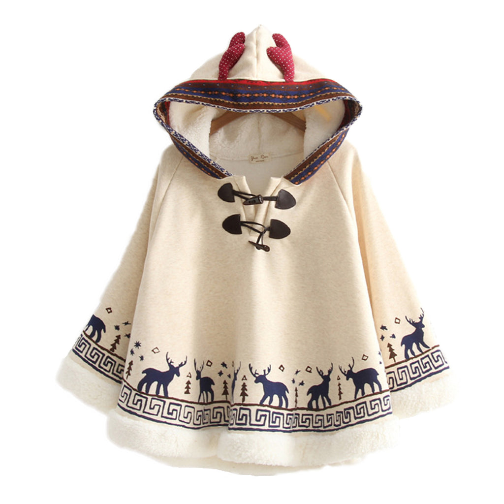 CORIRESHA Mori Girl Deer Antlers Cape