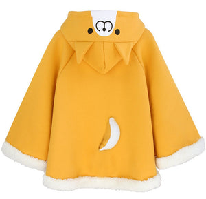 Footprint Velvet Hoodie Cloak Yellow