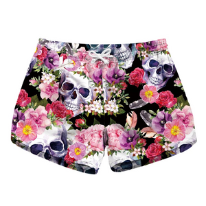 CORIRESHA Quick Dry Skull&Flower Beach Shorts Size L