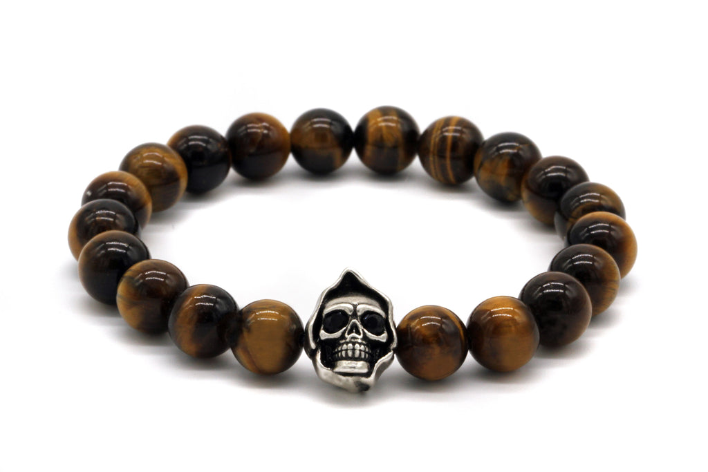 8mm Brown Tiger Eye Beads Skull Bracelet