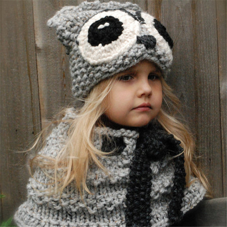 CORIRESHA Kids Knitted Owl Hooded Scarf Cap
