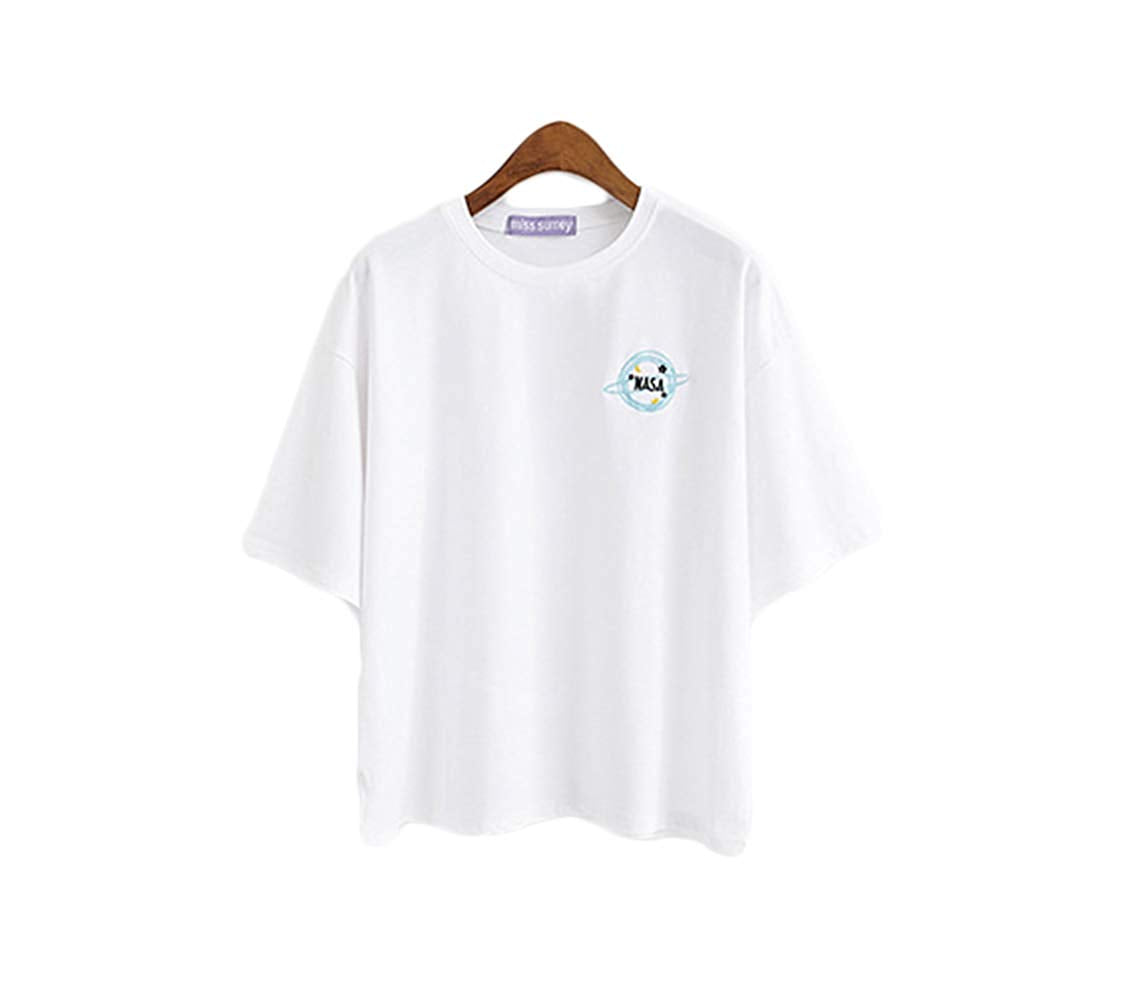 Summer Top Embroidered NASA Logo T-Shirt