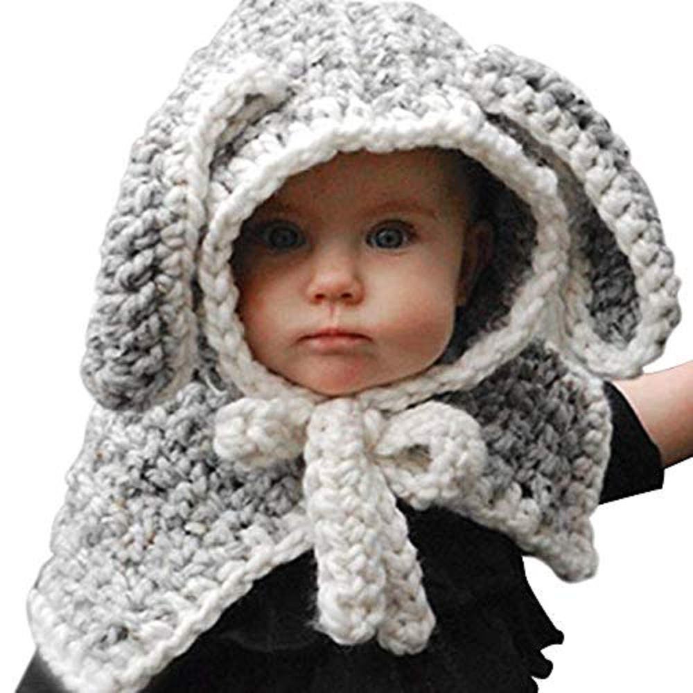 CORIRESHA Kids Knitted Rabbit Hooded Scarf Cap