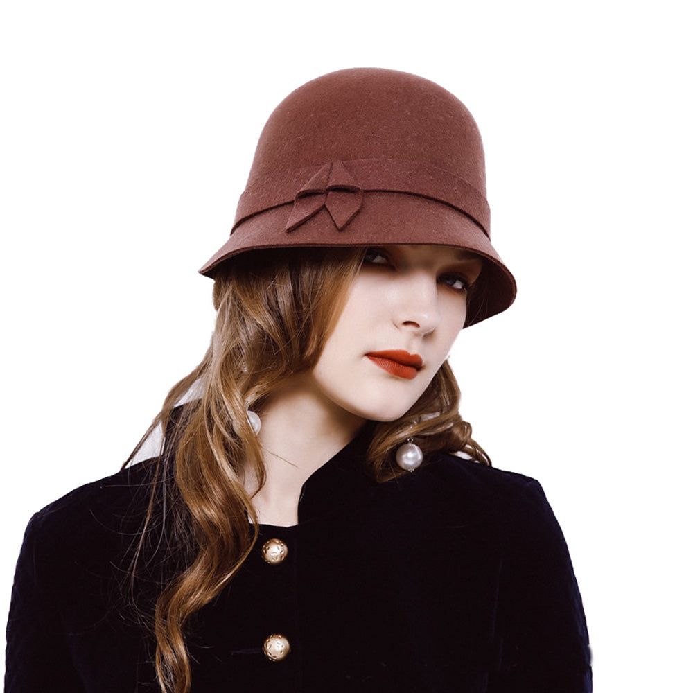 CORIRESHA Wool Felt Cloche Bucket Bowler Hat