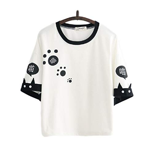 CORIRESHA Cartoon Cat Paw Print Color Block T-Shirt