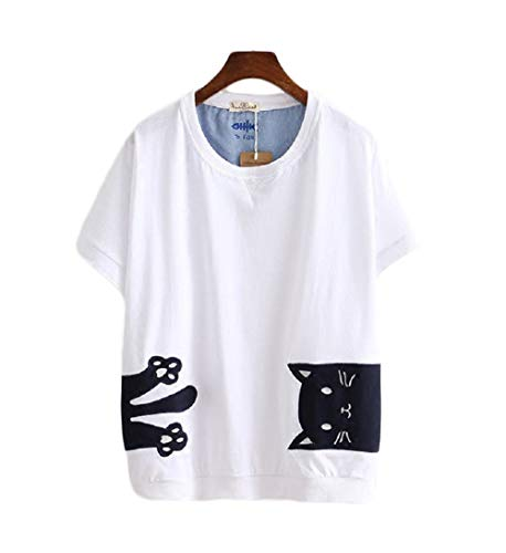 CORIRESHA School Style Cartoon Cat Embroidery T-Shirt