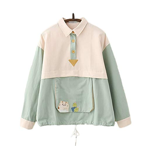 CORIRESHA Color Block Cat Embroidery Polo Collar Sweatshirt