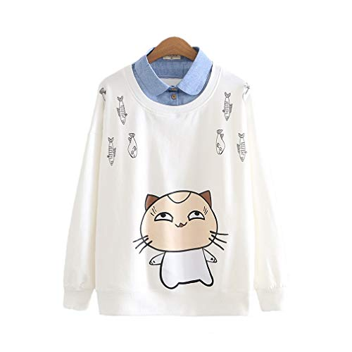 CORIRESHA College Style Cartoon Cat Print Sweatshirt