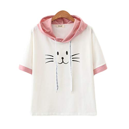 CORIRESHA College Style Cute Cat Print Hooded T-Shirt