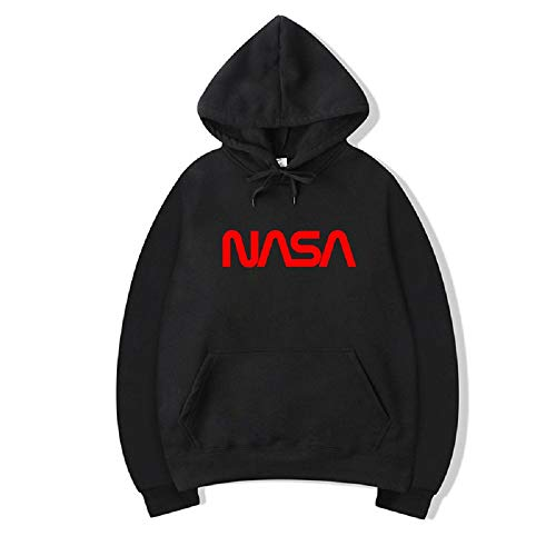 CORIRESHA NASA Letter Print Fleece Hoodie