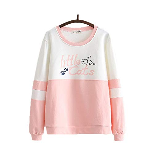 CORIRESHA Cute Little Sleeping Cat Color Block Pullover Sweatshirt