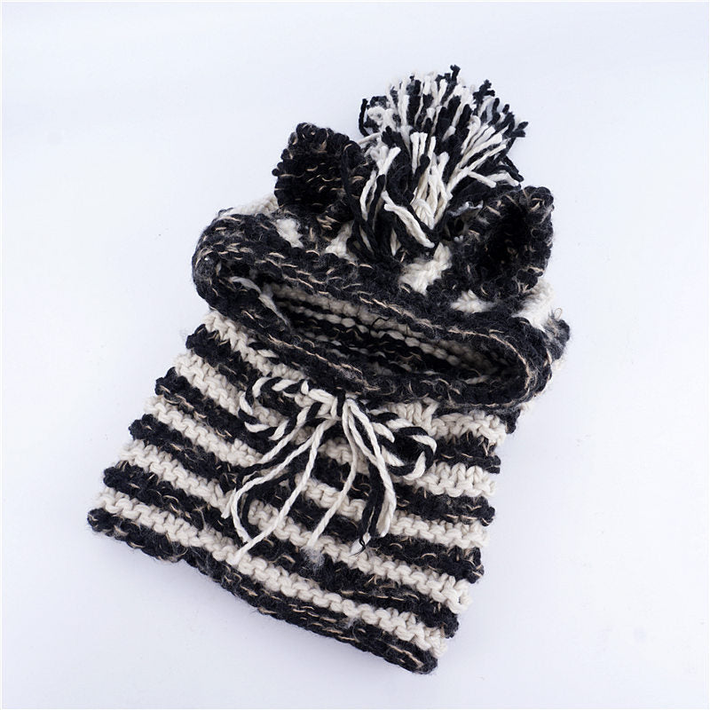CORIRESHA Kids Knitted Hooded Scarf Cap