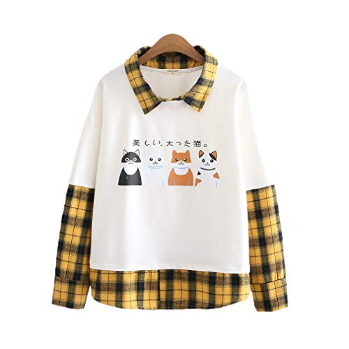 CORIRESHA Cats Print Contrast Collar Two Piece Patchwork Plaid Sweatshirt