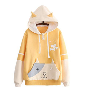 CORIRESHA Cute Dog Printed Hoodie