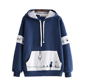 CORIRESHA Cute Cats Embroidery Color Block Hoodie