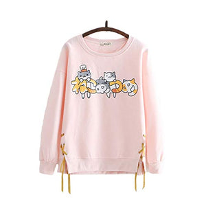 CORIRESHA Cute Cat Print Cross Ribbon Pullover Sweatshirt