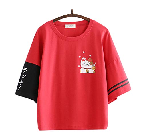 CORIRESHA Lucky Cat Print Color Block Middle Length Sleeve T-Shirt